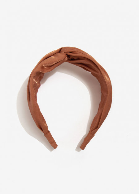SALMON SATIN HEADBAND WITH KNOT