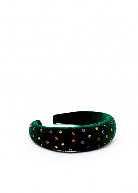 GREEN VELVET HEADBAND WITH COLORED CRYSTALS