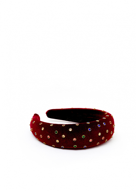 BURGUNDY VELVET HEADBAND WITH COLORED CRYSTALS