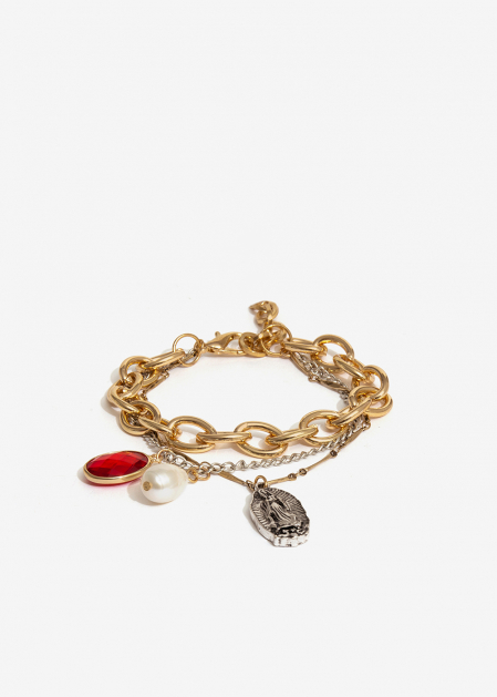 GOLD AND SILVER BRACELET WITH STONE AND PEARL