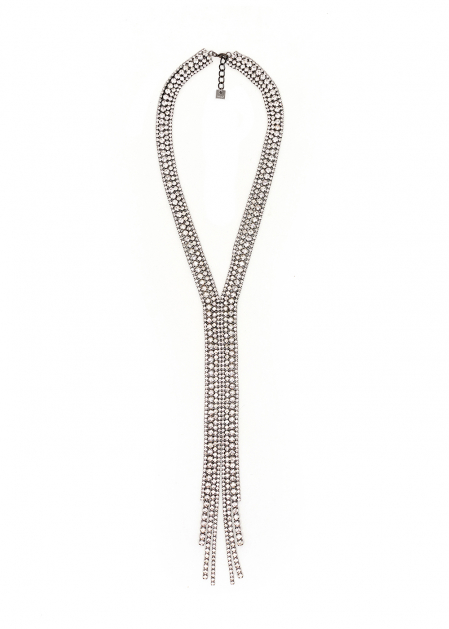 SILVER WIDE NECKLACE WITH LONG CRYSTALS PENDANT