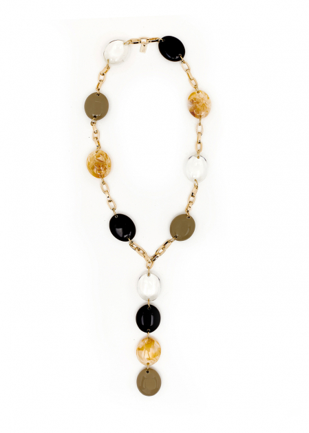 LONG NECKLACE LARGE STONES IN IVORY RESIN