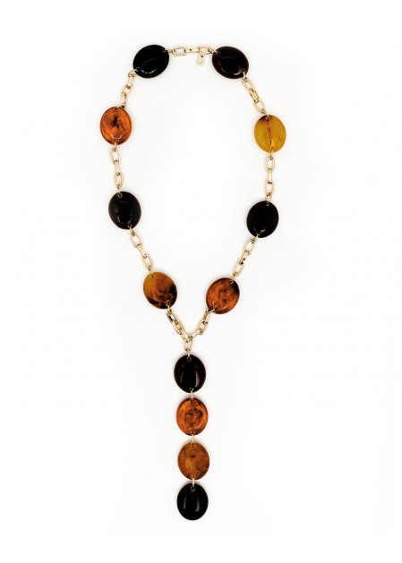 LONG NECKLACE LARGE STONES IN HONEY RESIN