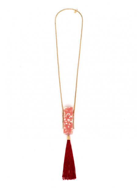 PETRA NECKLACE WITH CORAL MICRO BAG