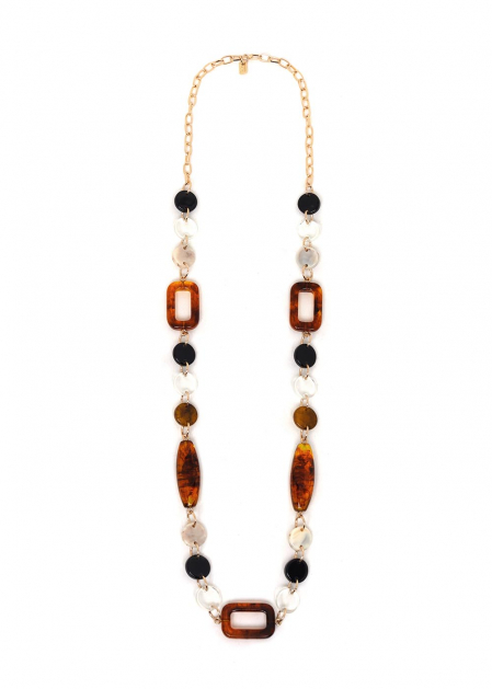 LIVIA AMBER AND BLACK RESIN NECKLACE