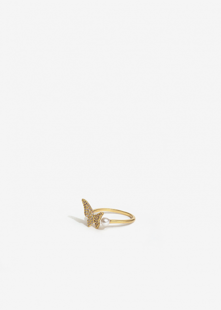 GOLD RING WITH BUTTERFLY AND PEARL