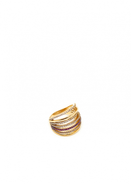 GOLD MULTIBAND RING AND FUCHSIA CRYSTALS
