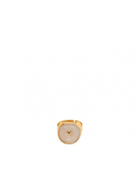 IRIS IVORY RING PLATED IN 14KT GOLD