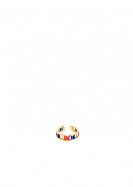 POLLY MULTICOLORED 14KT GOLD PLATED RING