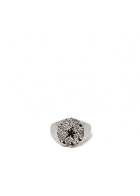 POLLY RING WITH CRYSTALS & STARS IN SILVER