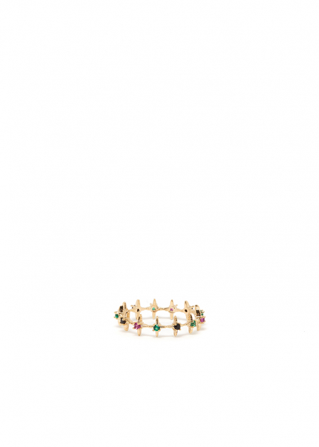 14KT GOLD PLATED & COLOURED CRYSTAL RING