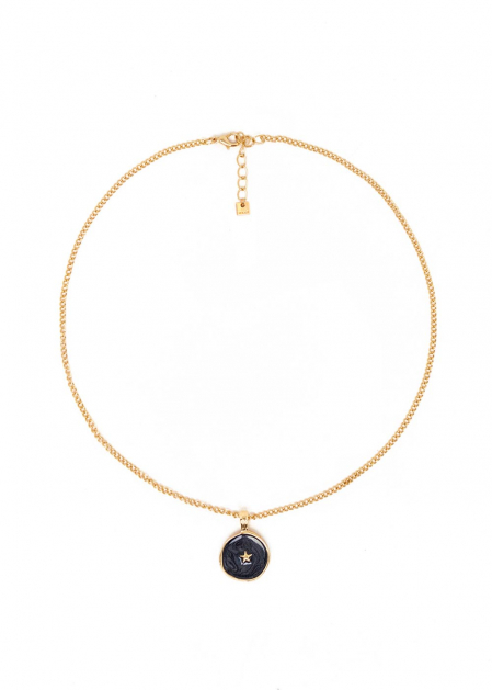 ILENIA BLACK NECKLACE PLATED IN 14KT GOLD
