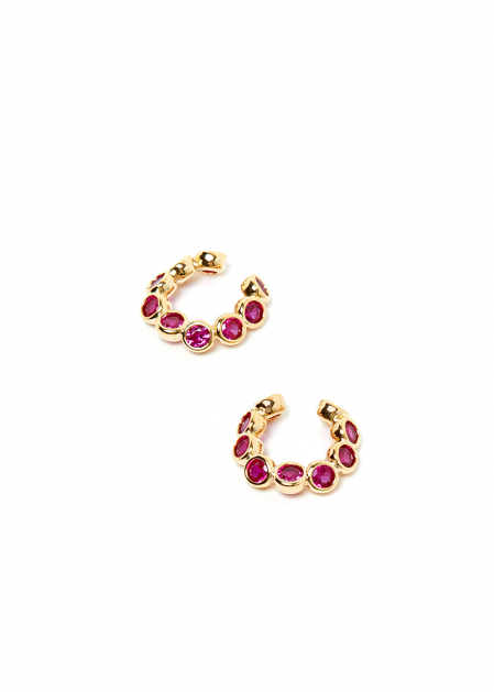 GOLD EARCUFF WITH FUCHSIA CRYSTALS