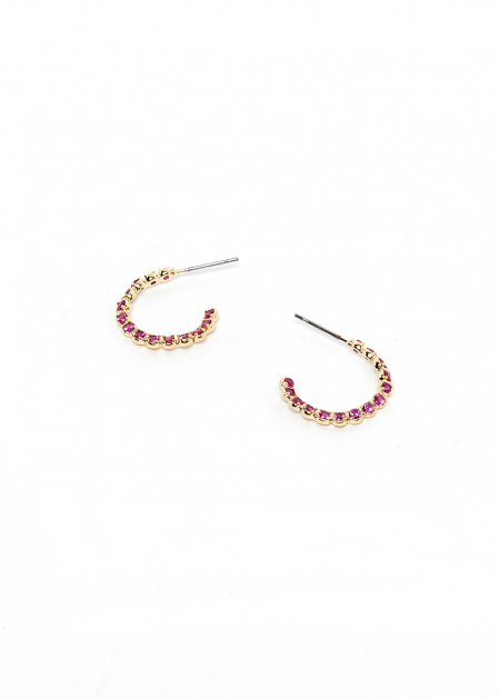 SMALL HOOP EARRINGS WITH FUCHSIA CRYSTALS