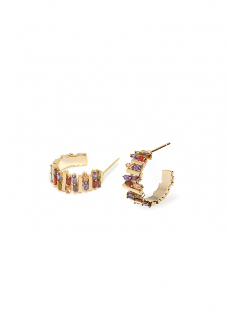 ANAIS 14K GOLD PLATED EARRINGS W/ MIX CRYSTALS