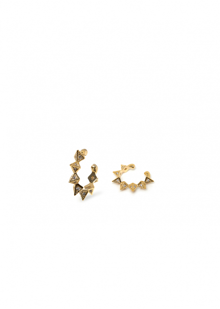 LETI 14K GOLD PLATED POINTED EARCUFF W/CRYSTALS