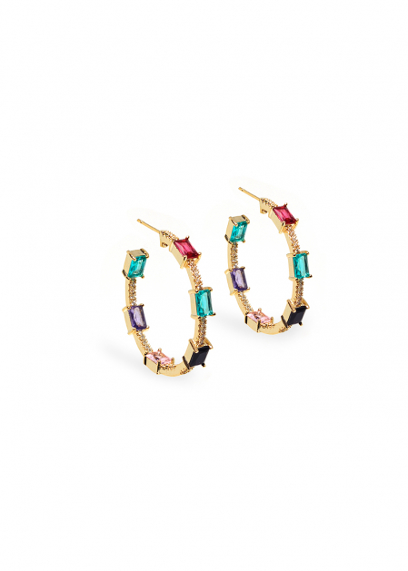 NATI HOOP EARRINGS IN GOLD W/ MIX CRYSTALS