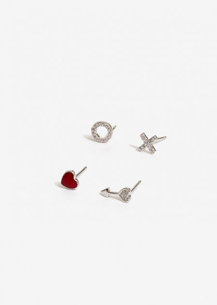 EARRINGS SET IN SILVER 925 WITH ZIRCONIA AND HEART