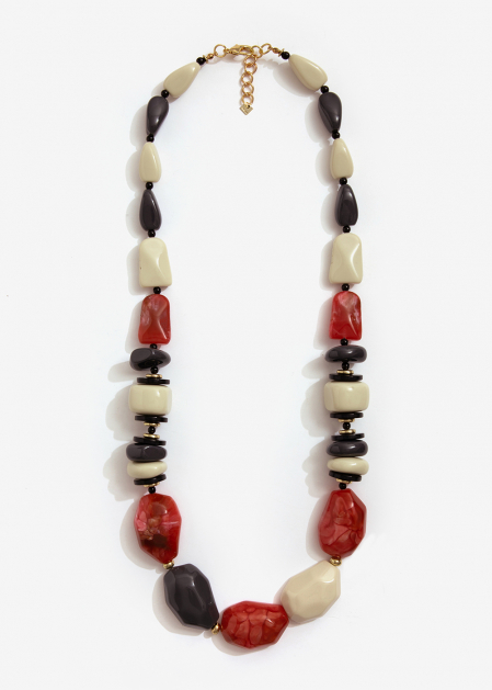 LONG NECKLACE IN RESIN BEIGE AND GRAY RED STONES