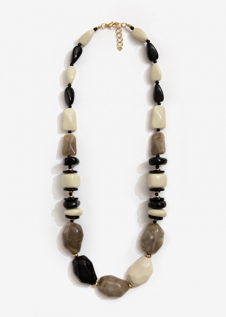 LONG NECKLACE IN RESIN AND STONES