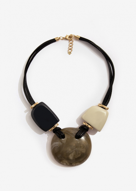 SHORT NECKLACE WITH BLACK BEIGE AND GRAY RESIN