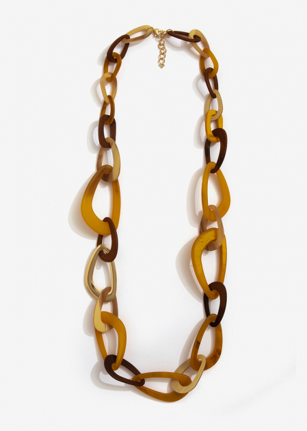 LONG CHAIN RESIN BROWN AND MUSTARD NECKLACE