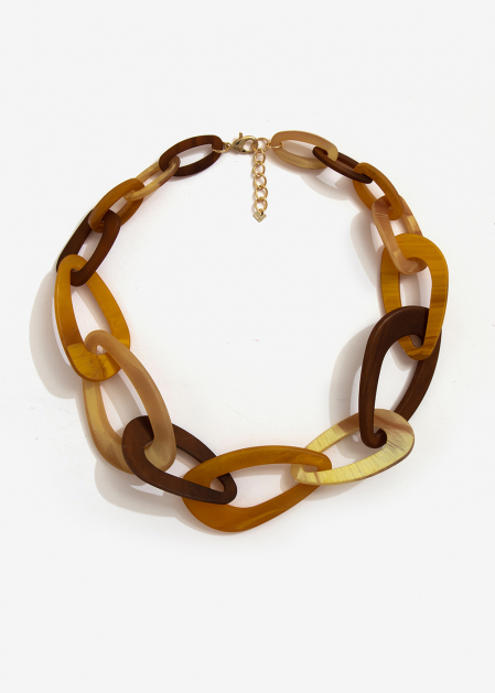 CHAIN NECKLACE IN BROWN AND MUSTARD RESIN