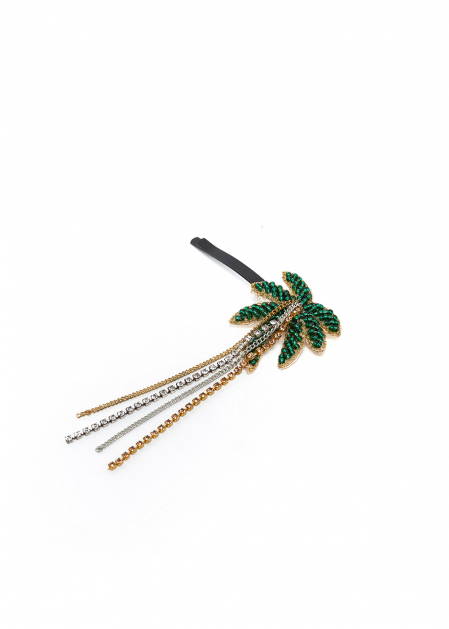 PALM HAIR CLIP WITH RHINESTONES AND CHAINS