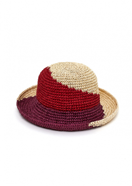HAT IN RED PURPLE AND NATURAL RAFFIA