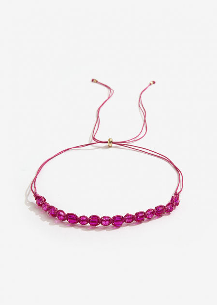 ADJUSTABLE CHOKER NECKLACE WITH FUCHSIA CRYSTALS