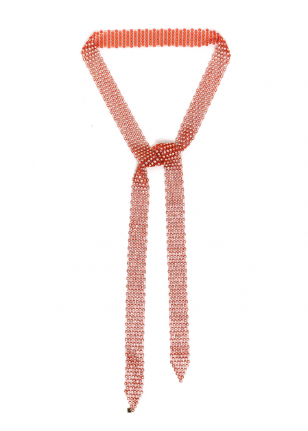 CORAL NECKLACE BELT PERFORATED WITH CRYSTALS