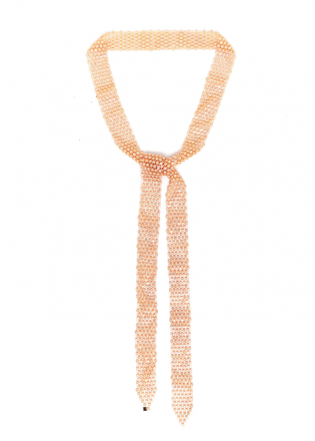 PEACH NECKLACE BELT PERFORATED WITH CRYSTALS