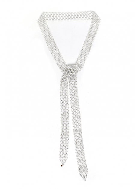 WHITE NECKLACE BELT PERFORATED WITH CRYSTALS