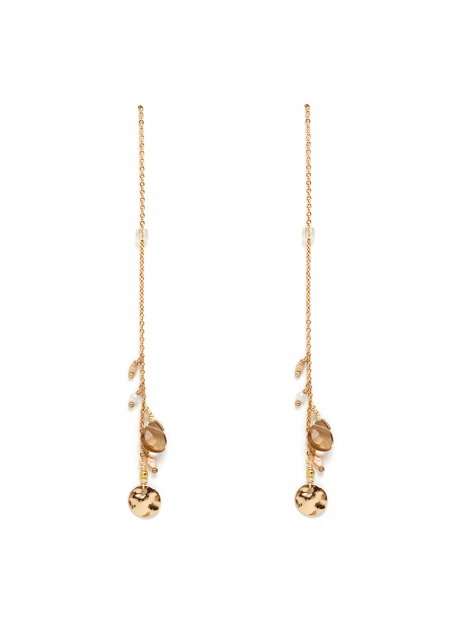 GOLD EARRINGS WITH BEADS