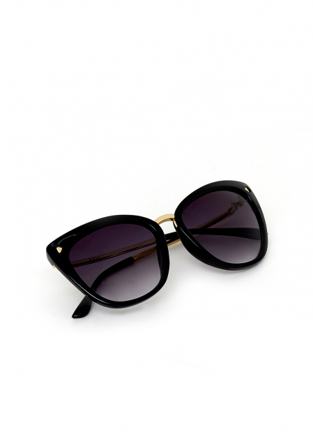 BLACK BUTTERFLY SUNGLASSES WITH METAL SIDE ARMS