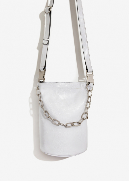WHITE PATENT BUCKET BAG