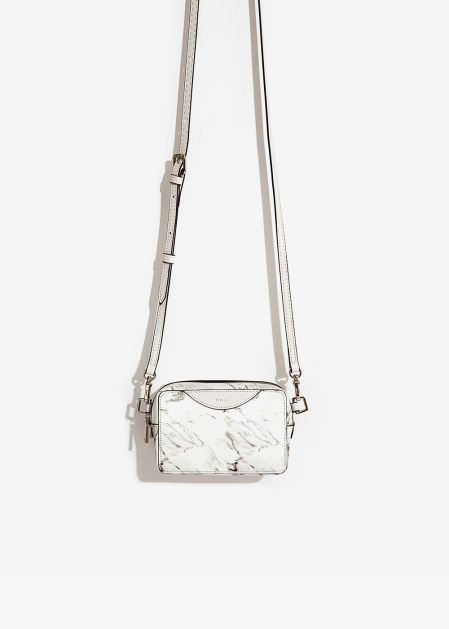 WHITE MARBLE EFFECT CROSSBODY BAG