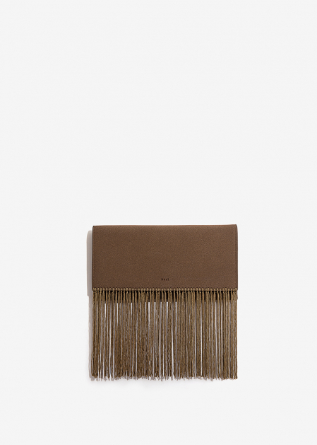 KHAKI CLUTCH WITH FRINGES