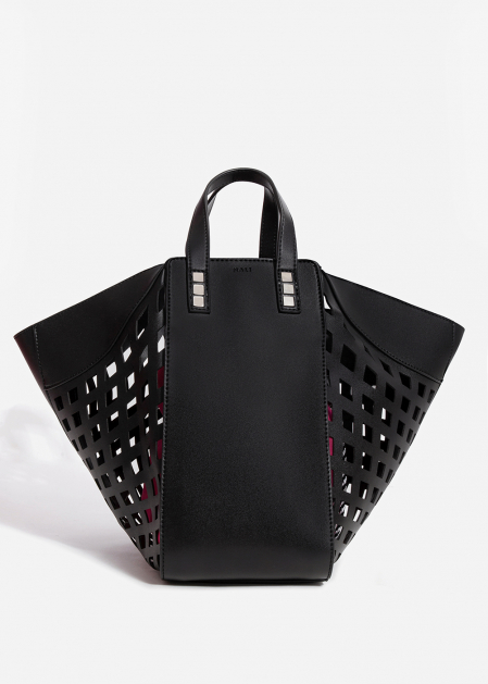 BLACK LASER-CUT SHOULDER BAG WITHFUCHSIA POUCH