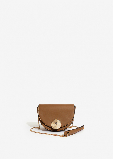 HALF-MOON LEATHER-COLORED BAG