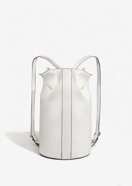 WHITE TUBULAR BACKPACK