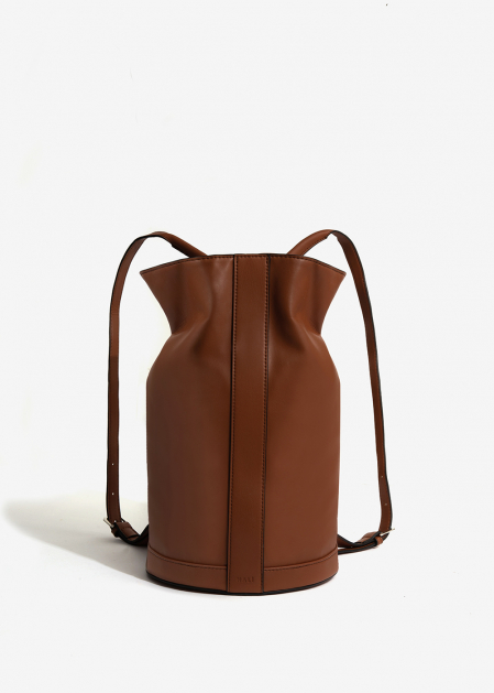 LEATHER-COLORED TUBULAR BACKPACK