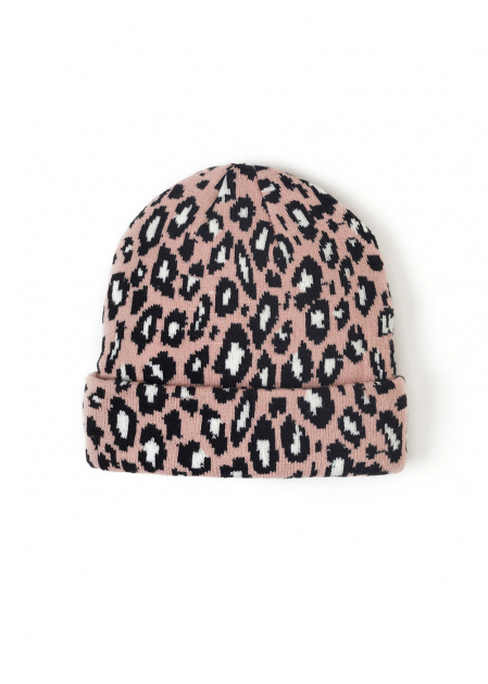 LEA HAT W/ ANIMAL PRINT IN PINK