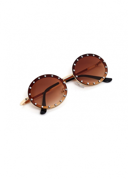 SMOKED OVAL SUNGLASSES WITH CRYSTALS