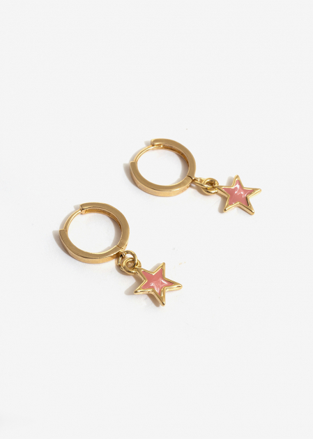 SMALL HOOP EARRINGS WITH PINK STAR