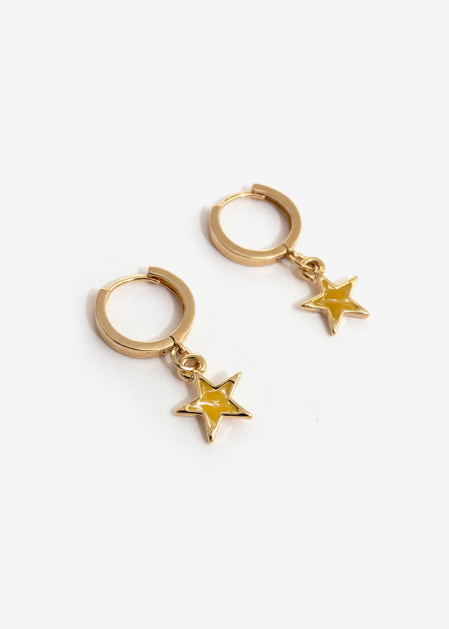 SMALL HOOP EARRINGS WITH YELLOW STAR