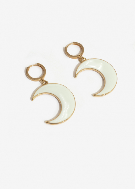 SMALL HOOP EARRINGS WITH WHITE MOON