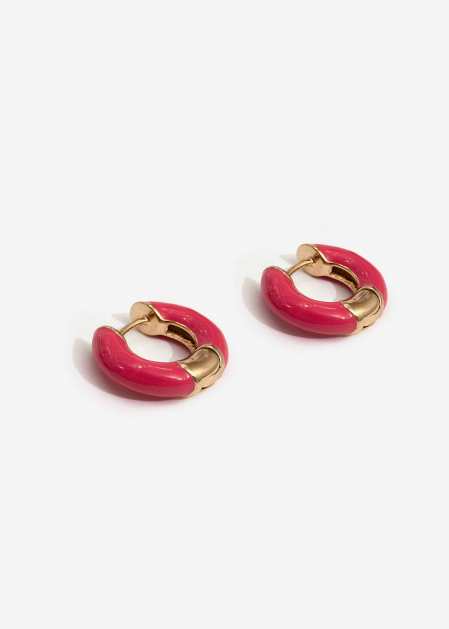 SMALL FUCHSIA ENAMELED HOOP EARRINGS