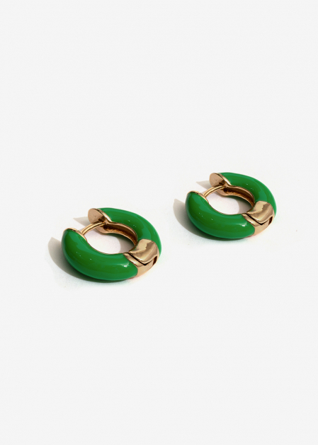SMALL GREEN ENAMELED HOOP EARRINGS