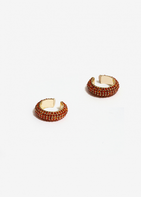 CORAL CRYSTALS EARCUFFS